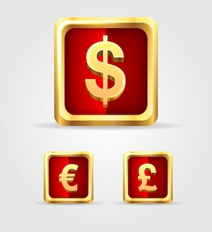 Currency golden buttons set