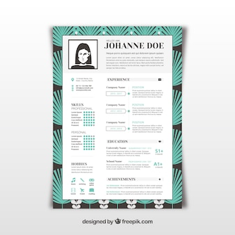 Curriculum template with palm leaves design