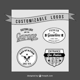 Customizable retro logos set