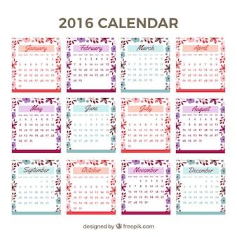 Cute 2016 calendar with floral details