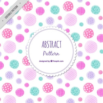 Cute abstract circles pattern in watercolor effect