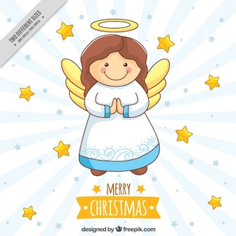 Cute angel background and hand drawn stars