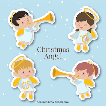 Cute angel stickers set