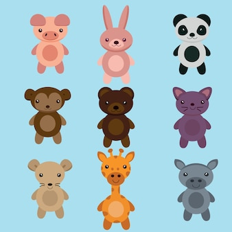 Cute animal cartoon set vector