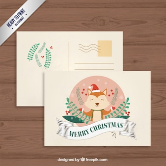 Cute animal christmas postcard