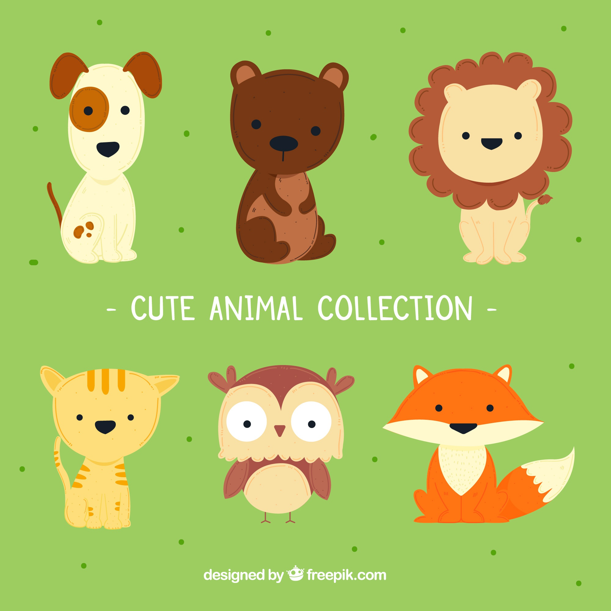 Cute animal collection with childish style
