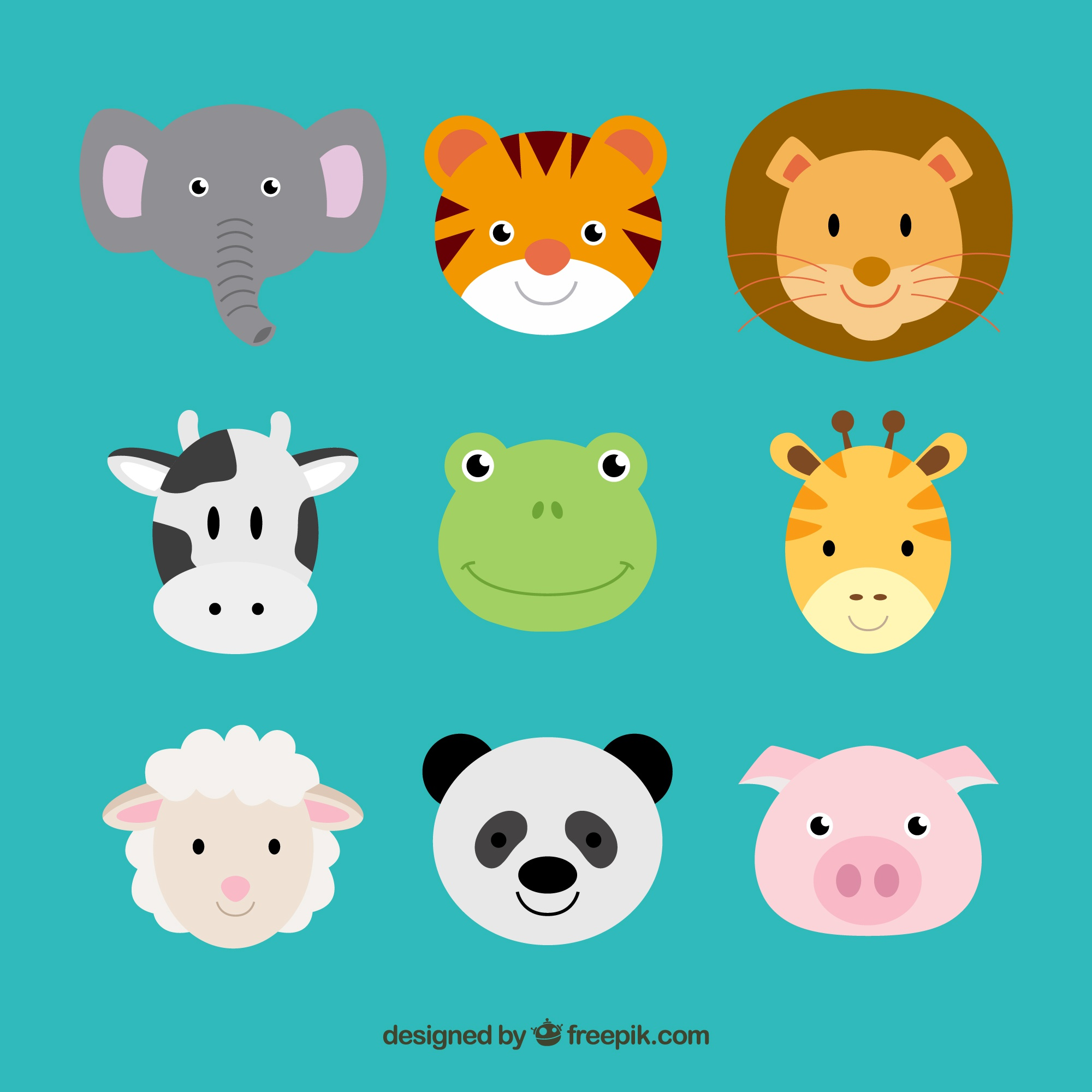 Cute animal heads