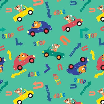 Cute animals driving cars kids Seamless pattern vector design