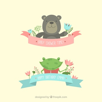 Cute animals for baby shower invitation