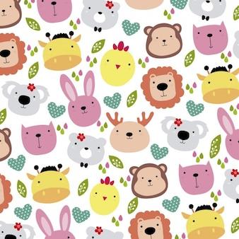 Cute animals head background