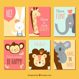 Cute animals on colorful cards