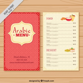 Cute arab menu template