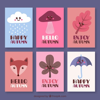 かわいい秋のカードコレクション