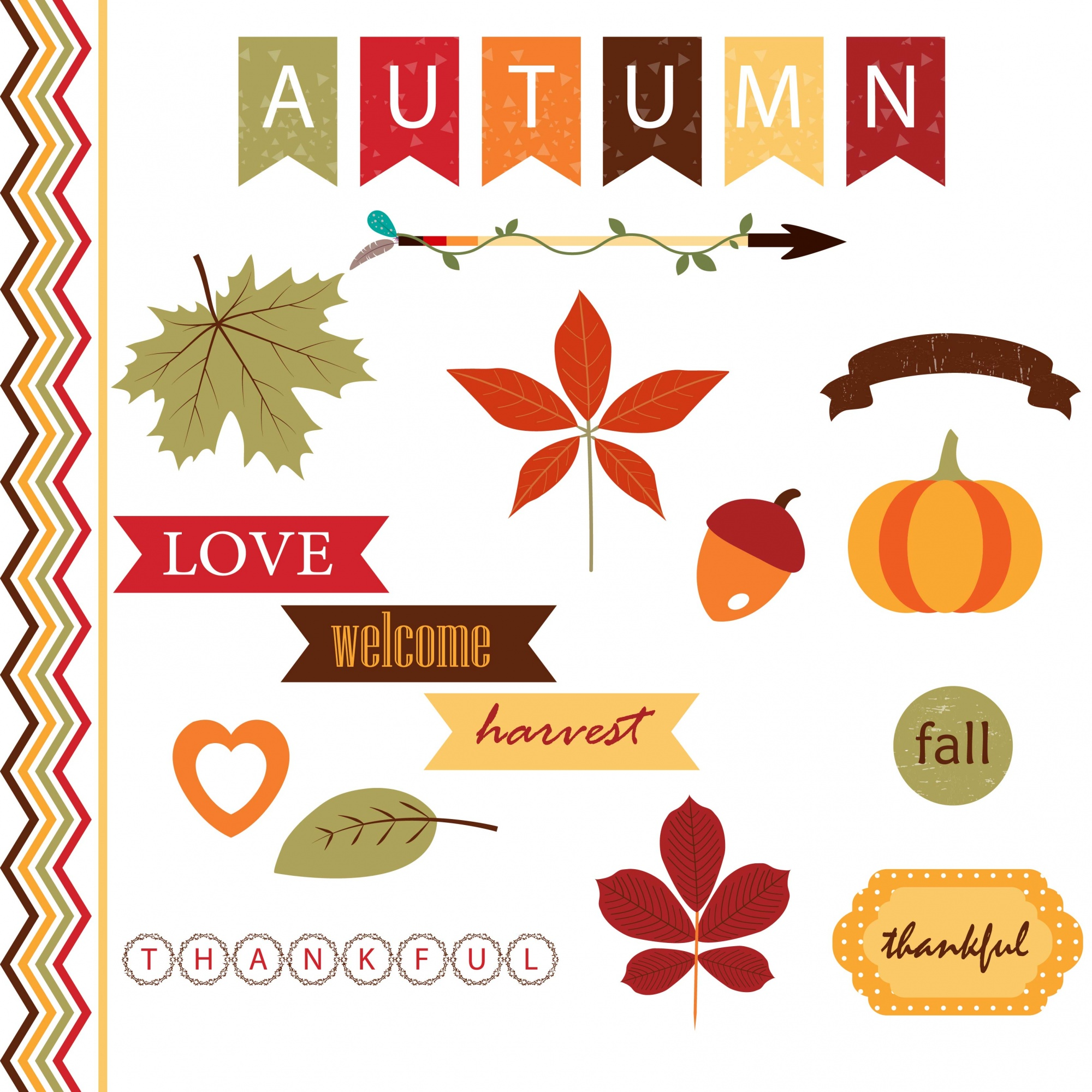 Cute autumn  elements collection