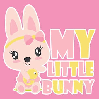Cute baby bunny with her duck toy vector cartoon illustration for kid t shirt design, postcard, and wallpaper