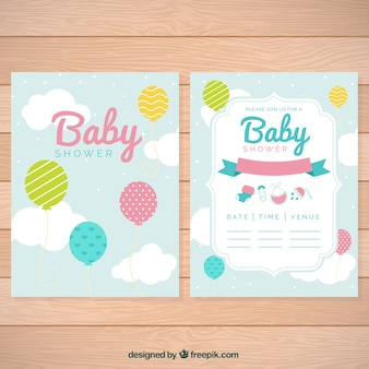 Cute baby greeting cards with balloons and clouds