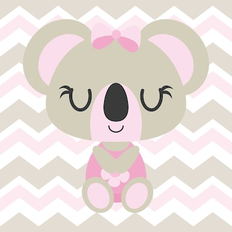 Cute baby koala sleeps on chevron background vector cartoon illustration for baby shower card design, kid t shirt design, and wallpaper
