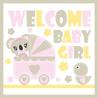 Cute baby koala vector cartoon illustration for baby shower card design, kid t shirt design, and wallpaper