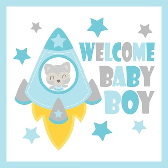 Cute baby raccoon in rocket vector cartoon illustration for baby shower card design, postcard, and wallpaper
