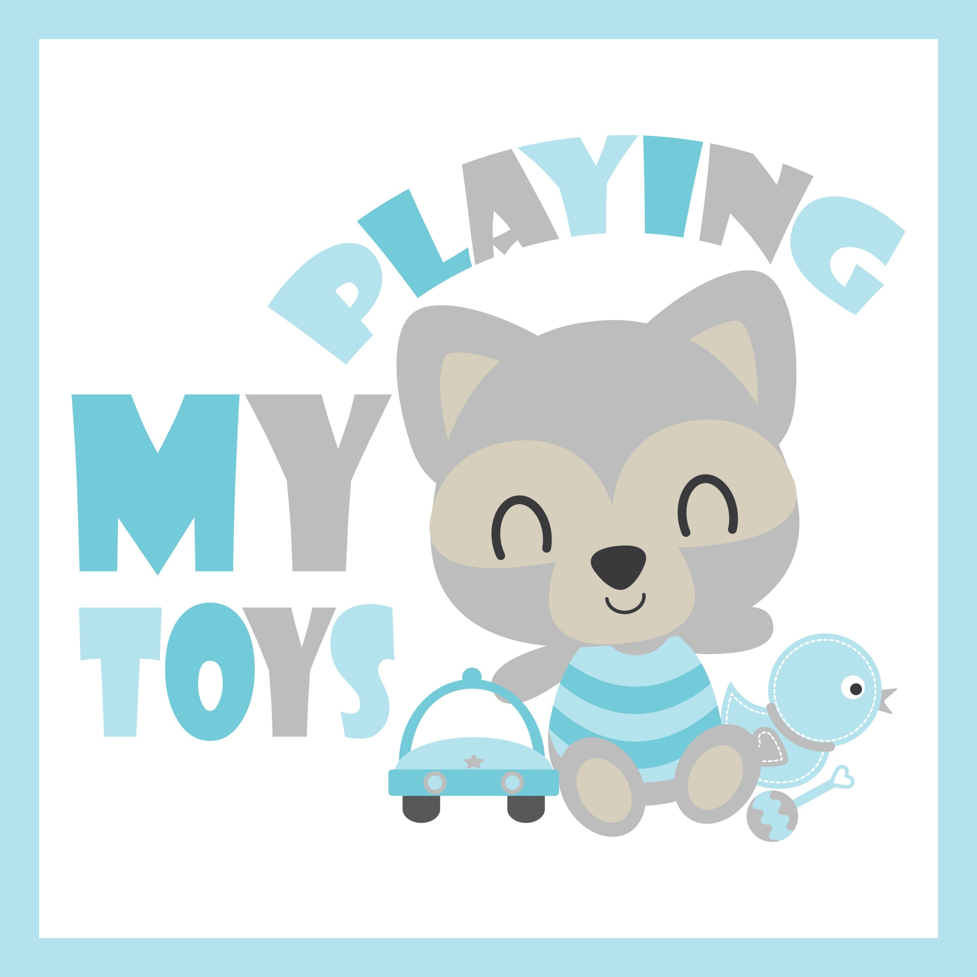 Cute baby raccoon plays car and duck toys vector cartoon illustration for baby shower card design, postcard, and wallpaper