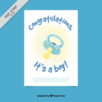 Cute baby shower card with a blue watercolor dummy
