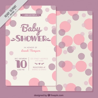 Cute baby shower card with circles in purple tones