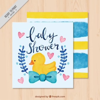 Cute baby shower invitation with duck and hearts
