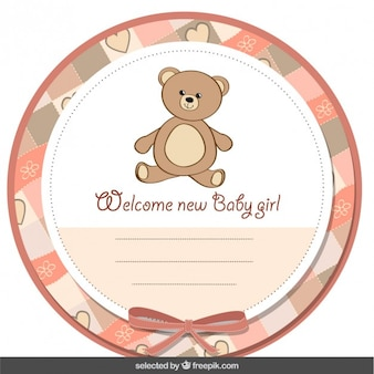 Cute baby shower label with teddy bear