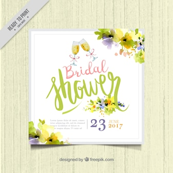 Cute bachelorette invitation template with watercolor flowers