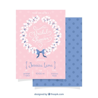 Cute bachelorette invitation with floral wreath
