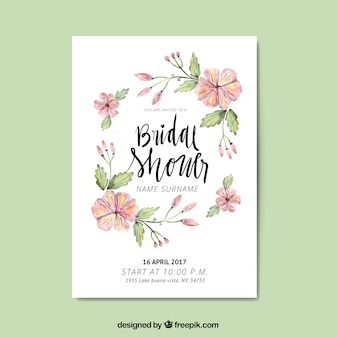 Cute bachelorette invitation with watercolor flowers