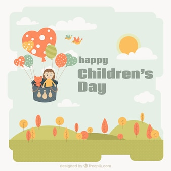Cute background children's day with landscape and balloon