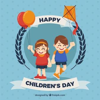 風船や凧を持つ子供のためのかわいい背景