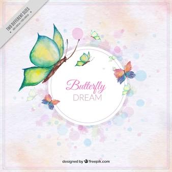 水彩画のスタイルで蝶のかわいい背景