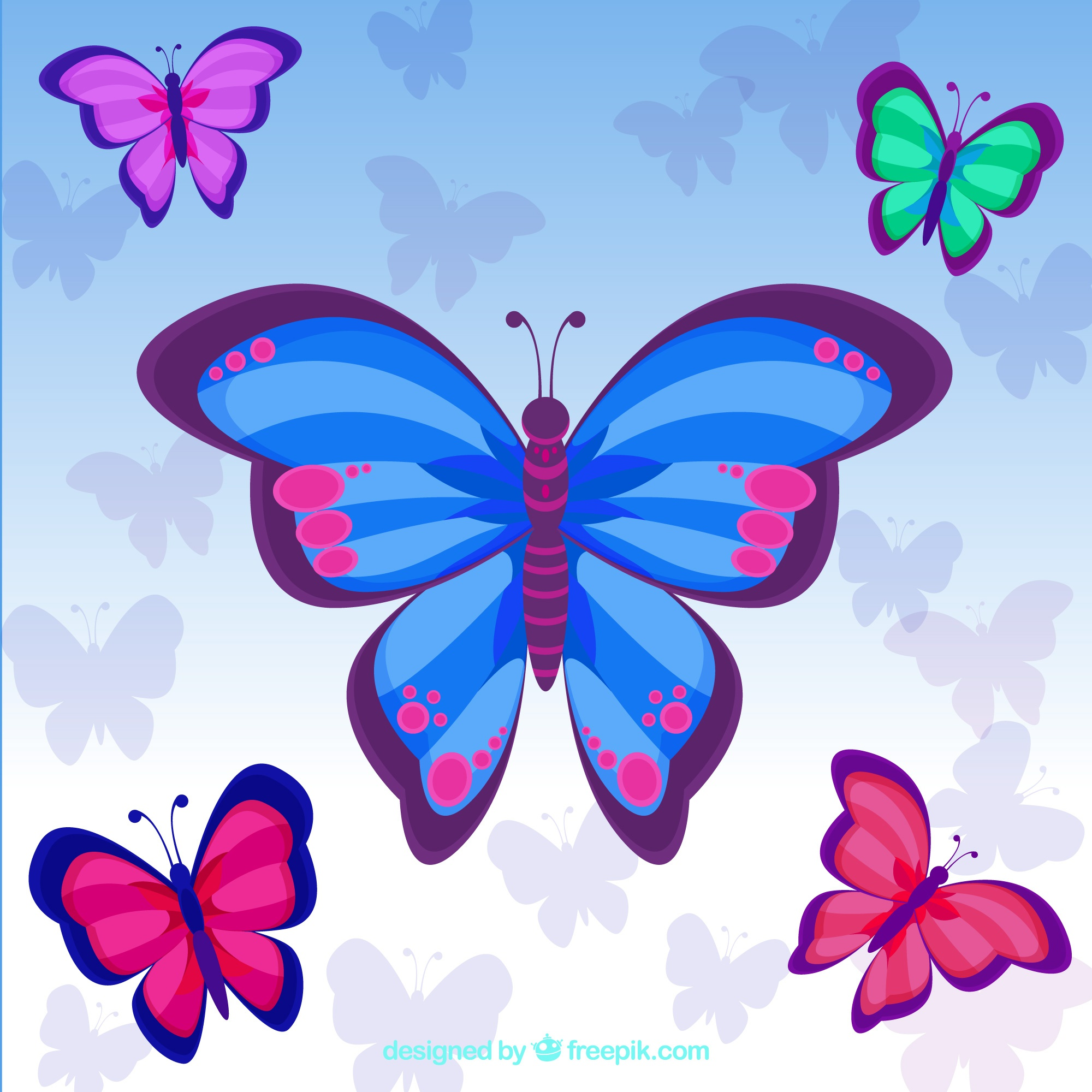 Cute background of colored butterflies