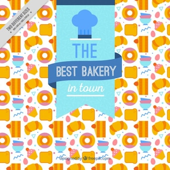 Cute background of flat delicious bakery products