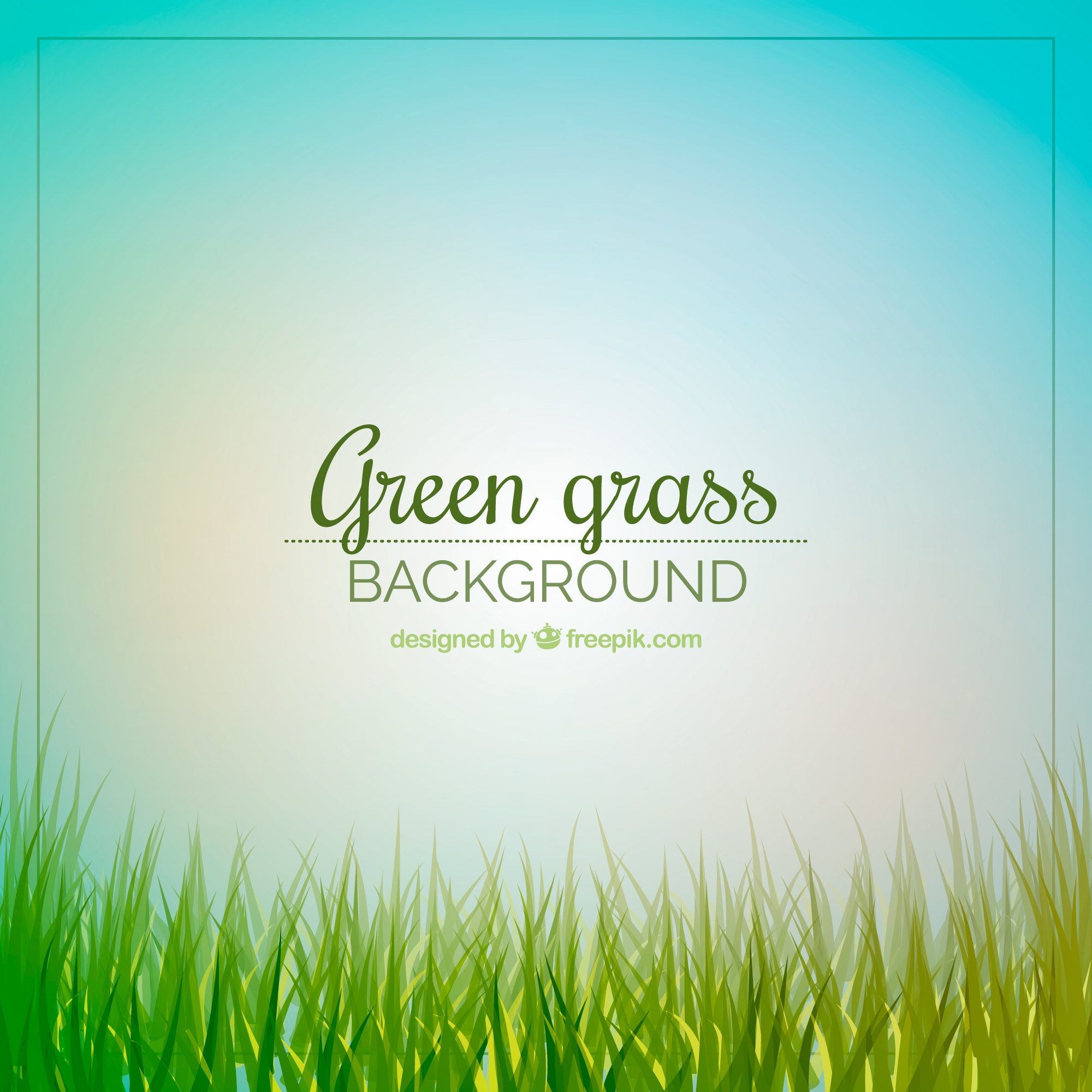 Cute background of green grass and sky