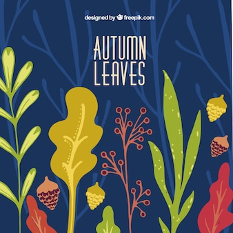 Cute background of hand drawn autumnal leaves