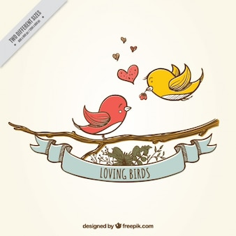 Cute background of hand-drawn birds in love