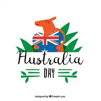 Cute background of kangaroo with heart for australia day