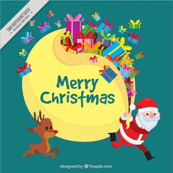 Cute background of santa claus and reindeer with gifts