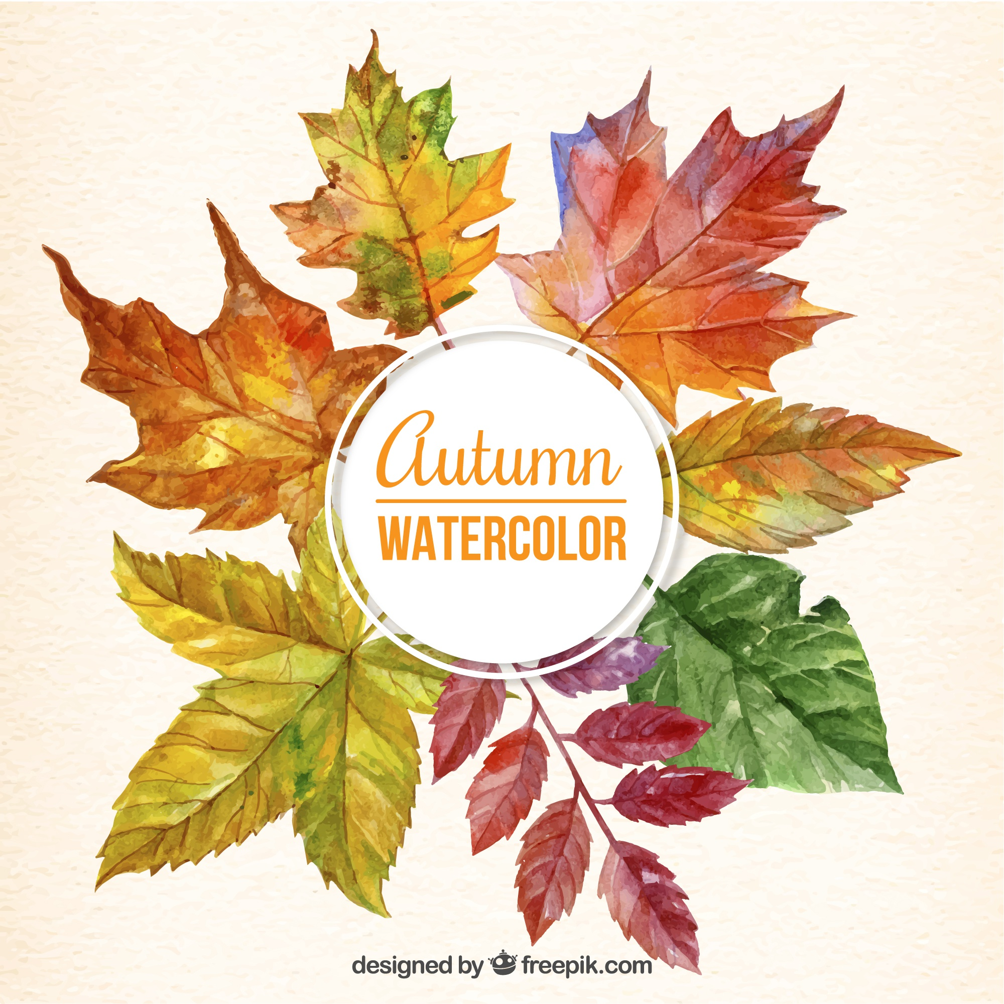 Cute background of watercolor autumnal leaves