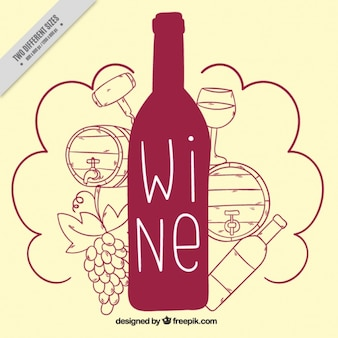 Cute background of wine bottle with drawings