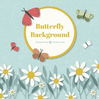 Cute background with butterflies and daisies