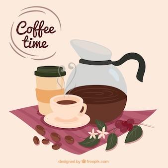コーヒーポットとコーヒーカップとかわいい背景