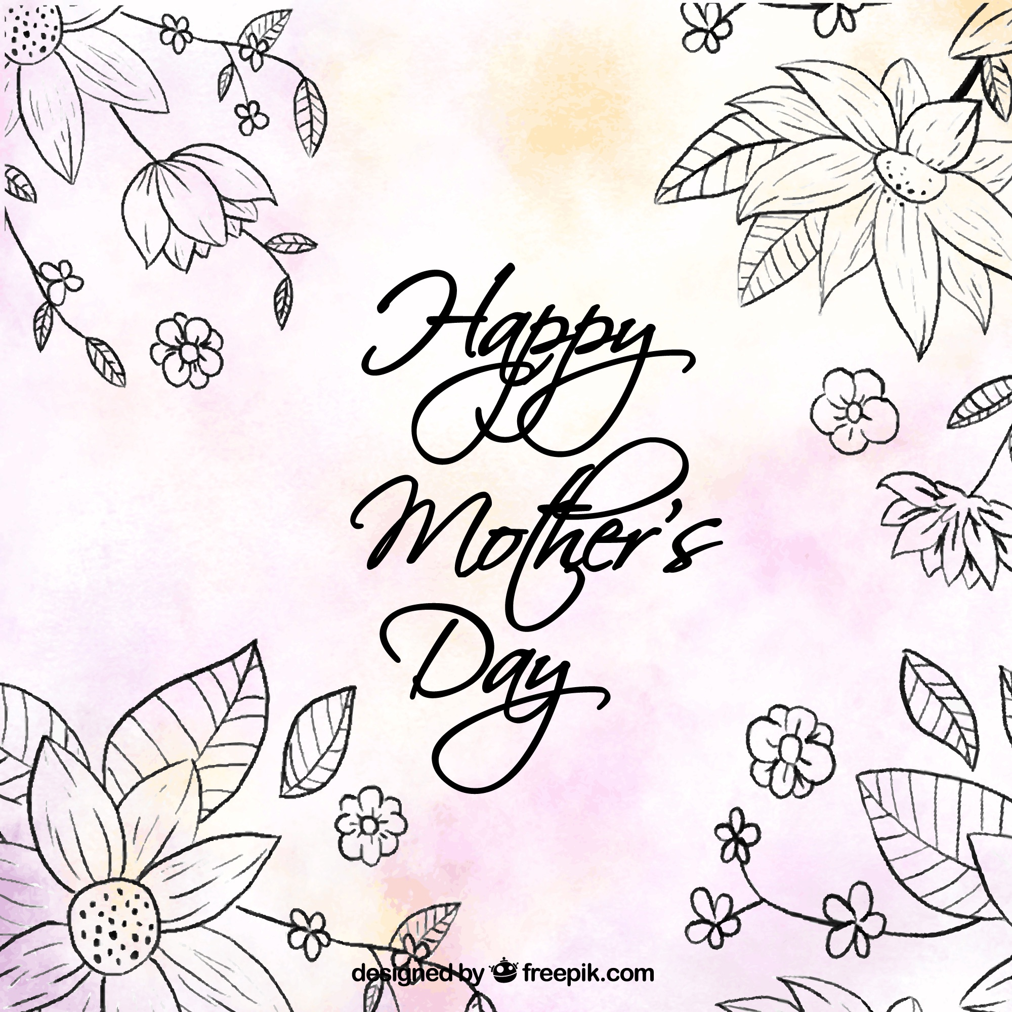 Cute background with flowers and color details for mother's day