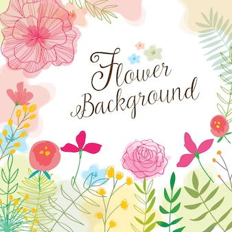 Cute background with hand drawn flowers and watercolors