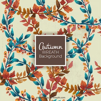Cute background with leaves in different colors