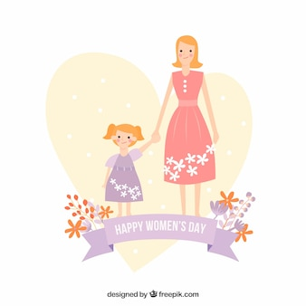 Cute background with mother and her daughter for women's day