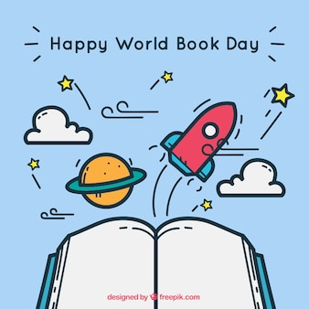 Cute background with open book and items for world book day